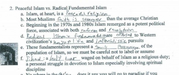 mom s outrage at child s school worksheet on islam states that most muslims faith is stronger. Black Bedroom Furniture Sets. Home Design Ideas